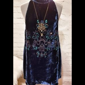 Free People Velvet Sequined Mini Dress NWT